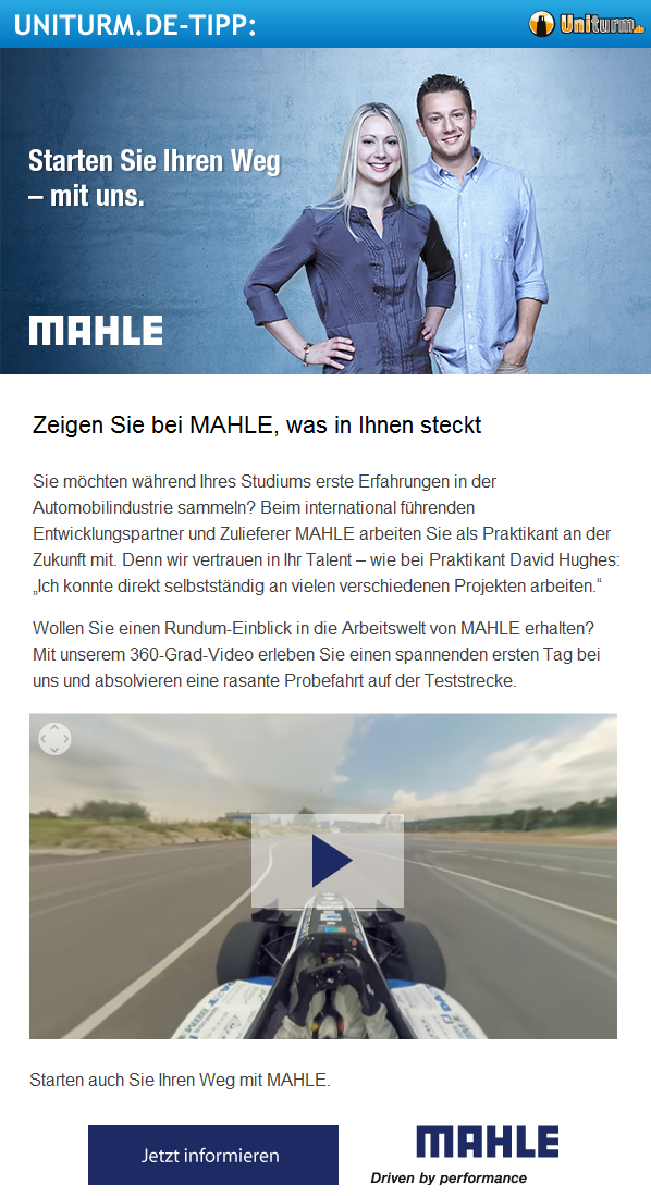 Beispiel Newsletter Mailing Studenten Recruiting und Employer Branding