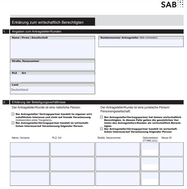 Soforthilfe Zuschuss SAB Antrag