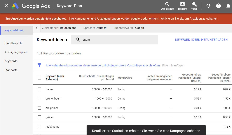 ungenaues Suchergebnis keyword planer