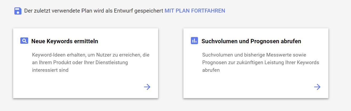 keyword planer neue keywords finden