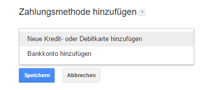 keyword planer zahlungsoption
